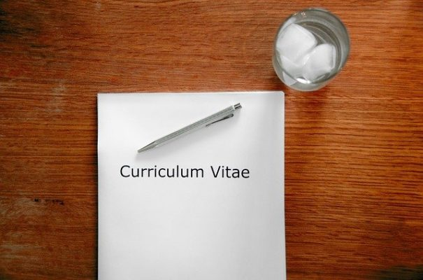 curriculum vitae on a desk